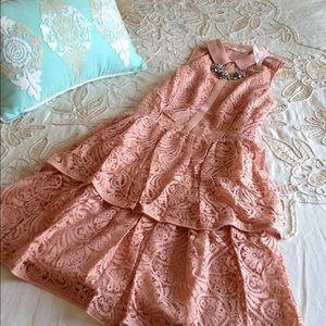 Anthropologie $188 tiered lace shirt dress LP pink
